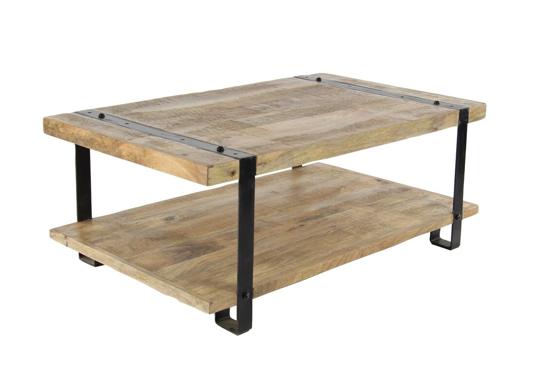 17 stories bianka industrial mango wood and iron coffee table with bianka industrial mango wood and iron coffee table with magazine rack geotapseo Gallery