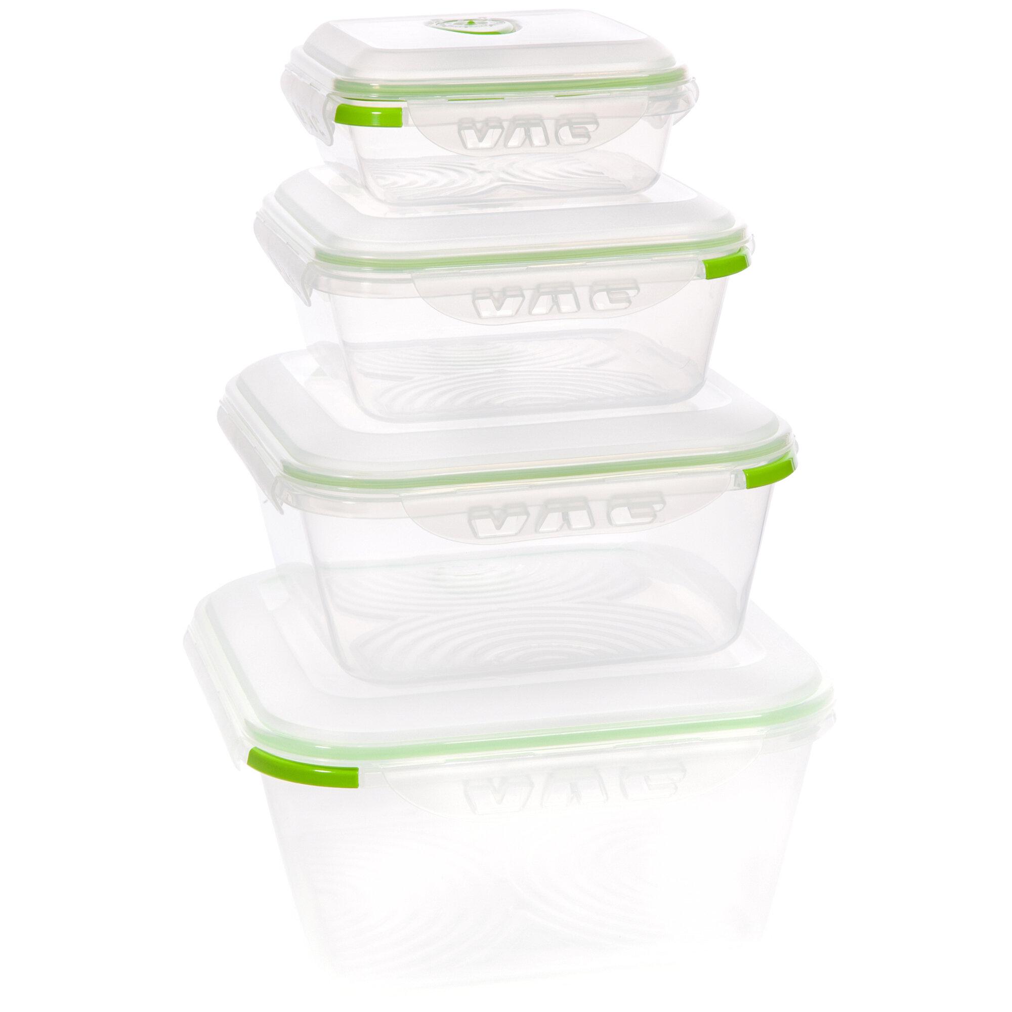 Ozeri Instavac Green Earth Vacuum Sealed Locking 8 Container Food Storage  Set | Wayfair