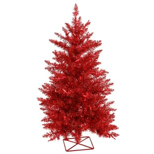 2' Red Artificial Christmas Tree with 35 Single Colored Lights