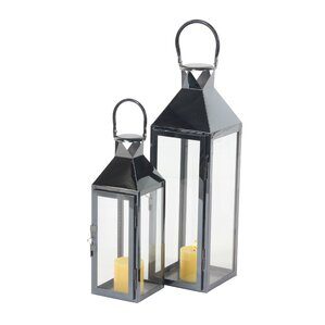 modern rectangular tower frame 2 piece stainless steel and glass lantern set set of 2