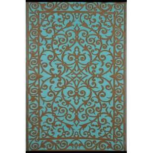 Lightweight Reversible Blue Turquoise Gold Indoor Outdoor Area Rug