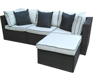 Check Price Burruss 4 Piece Patio Sectional With Cushions Three Posts