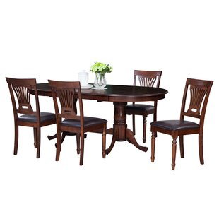 Doretha Traditional 5 Piece Solid Wood Dining Set with Dual Pedestal Table