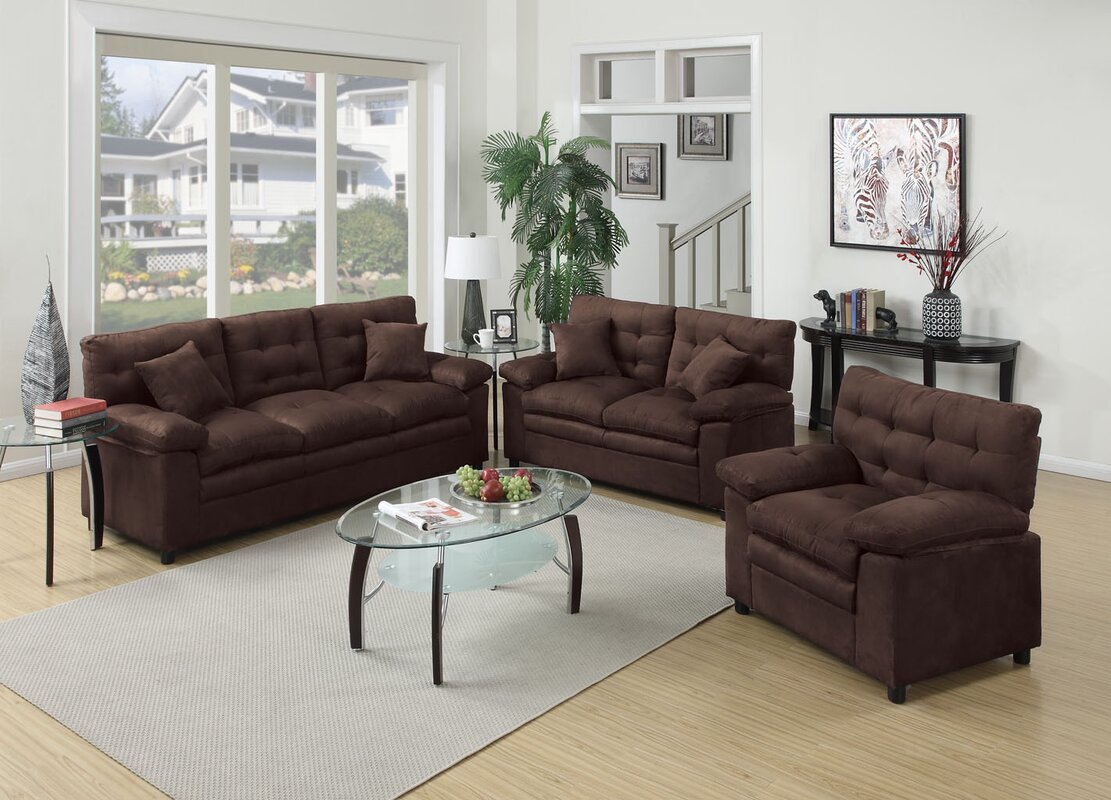 Red barrel studio kingsport 3 piece living room set for Living room 3 piece sets