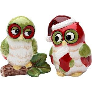 Christmas Owl 2 Piece Salt and Pepper Set