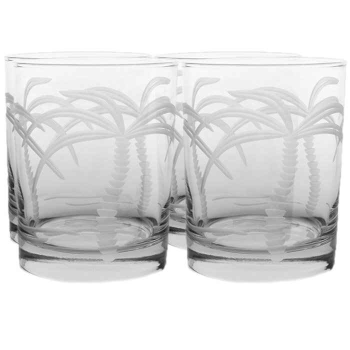 Rolf Glass Palm Tree 14 Oz Double Old Fashioned Glass