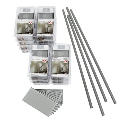 Aspect Steel 3 x 6 Glass Peel & Stick Subway Tile Kit in Gray