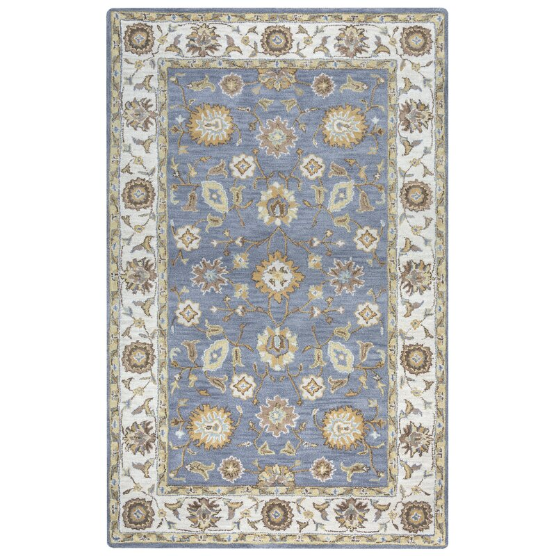 Alcott Hill Gillison Hand-Knotted Wool Gray/Beige Area Rug, Size: Rectangle 8 x 10