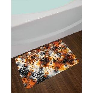 Black Orange Gray Burnt Bath Rug