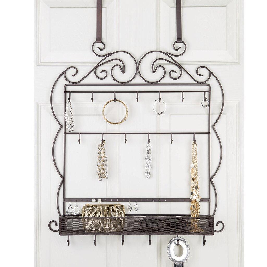 Decorative Jewelry and Belt 19 Hook Hanging Overdoor Organizer