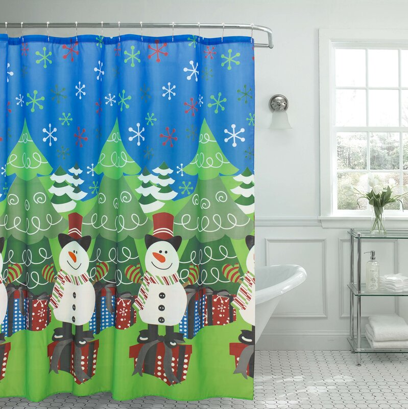 The Holiday Aisle Tree and Snowman Shower Curtain & Reviews | Wayfair