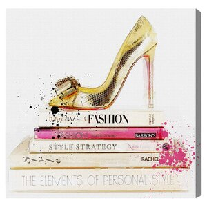 'Gold Shoe and Fashion Books' Graphic Art Print