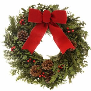 holiday velvet 16 pinecone wreath - Lighted Outdoor Christmas Wreaths