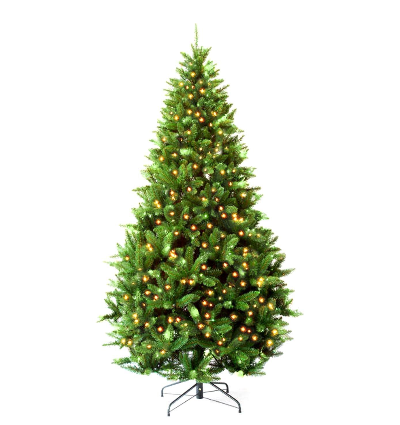 Hometime Snowtime 7.5\' Green Pre-Lit Carolina Pine Artificial ...