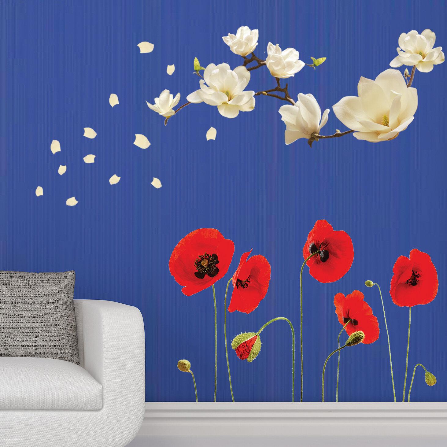 Walplus Magnolia Poppy Flowers Wall Decal Wayfair