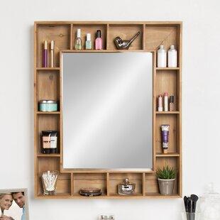 Gretel Rustic Wood Cubby Framed Wall Storage Accent Mirror
