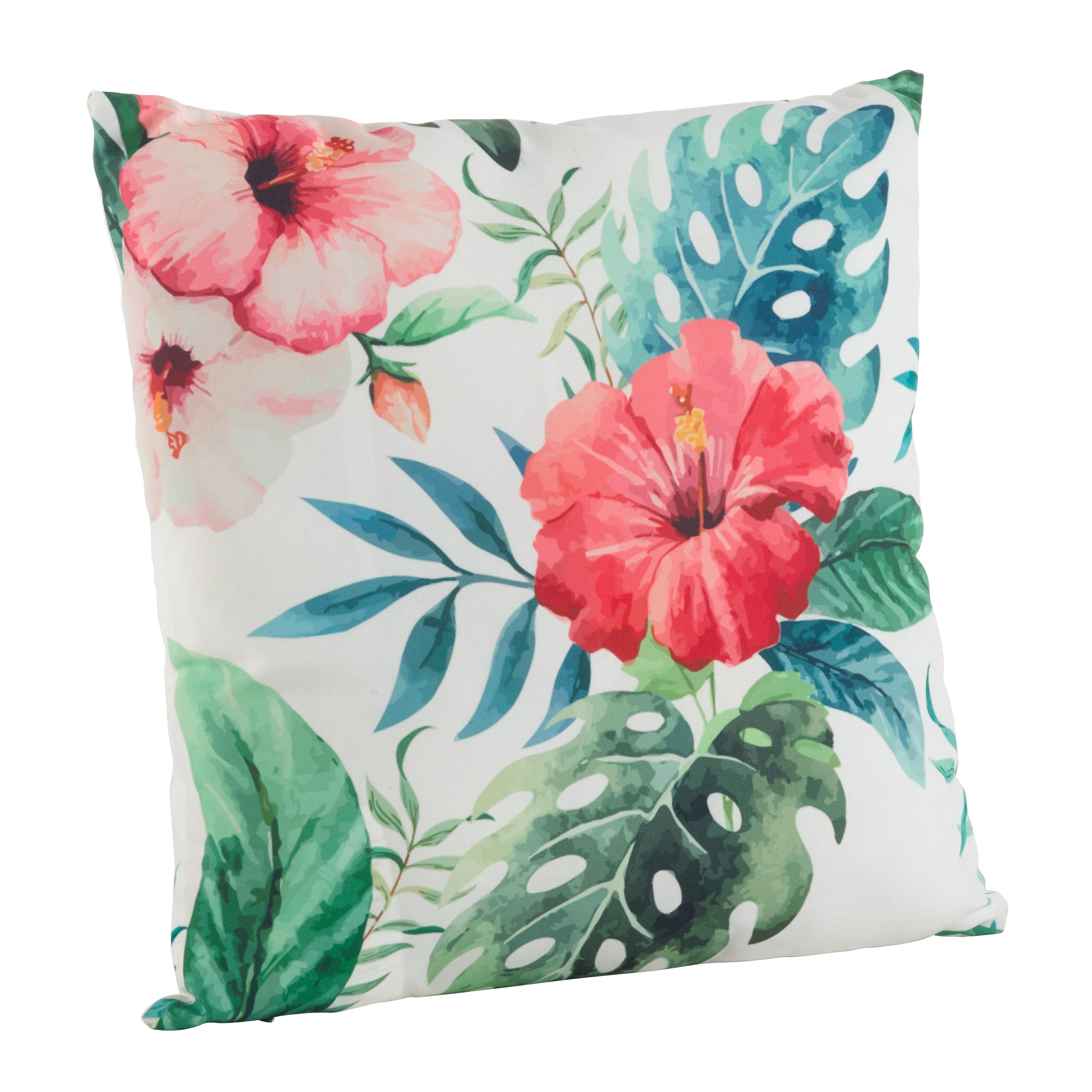 Sherwick Hibiscus Floral Tropical Print Indoor Outdoor Throw Pillow