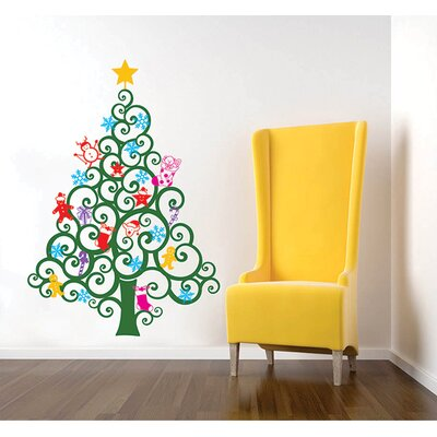 The Holiday Aisle Glow in Dark Traditional Christmas Tree Wall Decal ...
