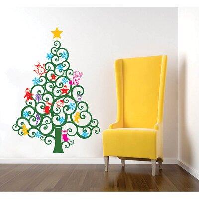 RetailSource Christmas Tree Scene with Santa Wall Decal | Wayfair