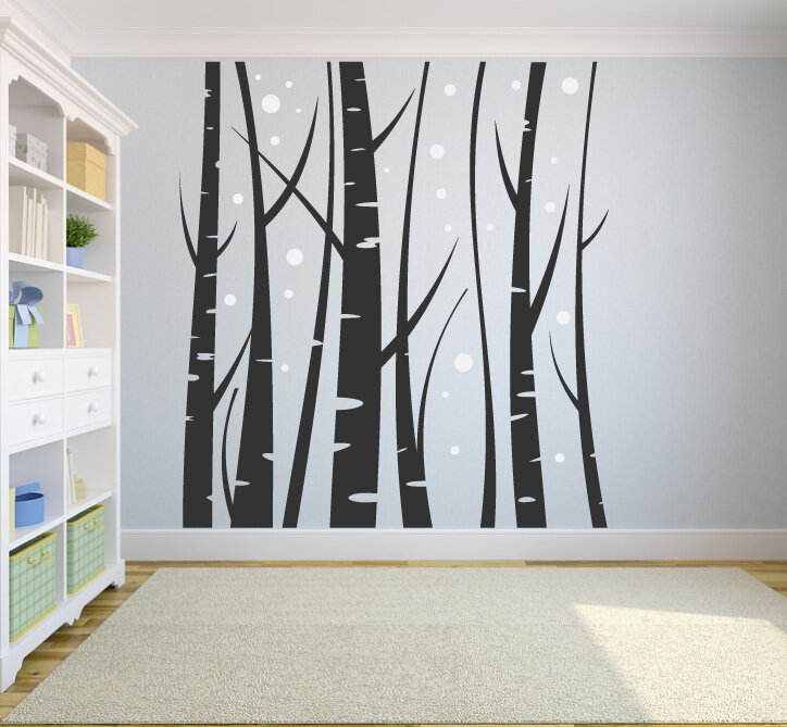 Harriet Bee Eldert Winter Birch Trees And Snowflakes Vinyl Wall Decal Wayfair