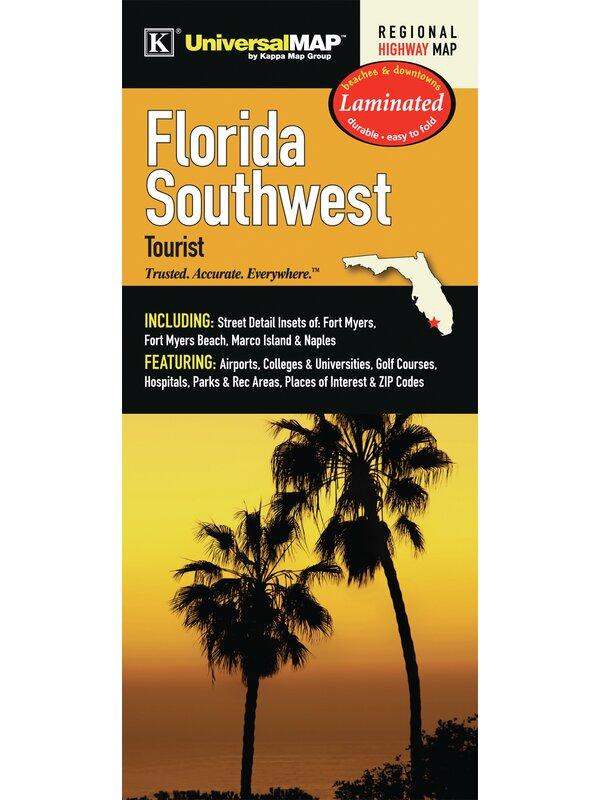 Fort Myers Beach Zip Code Map.Universal Map Florida Southwest Tourist Waterproof Map Wayfair