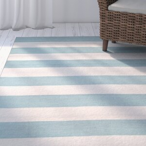 Ranier Stripe Hand-Woven Blue/Beige Indoor/Outdoor Area Rug