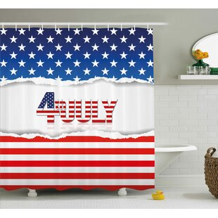 4th Of July Big Little Stars With Inner Us Flag Pattern Love My Homeland  Illustration Shower Curtain