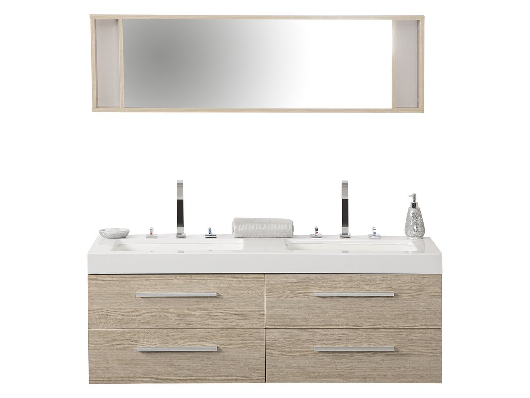 sink with vanity unit. 140cm Wall Mounted Double Sink Vanity Unit Caracella  Reviews
