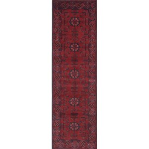 One-of-a-Kind Rosales Hand-Knotted Runner Red Area Rug