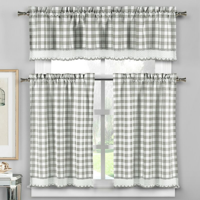 Loon Peak Cassia 3 Piece Crochet Kitchen Curtain Set