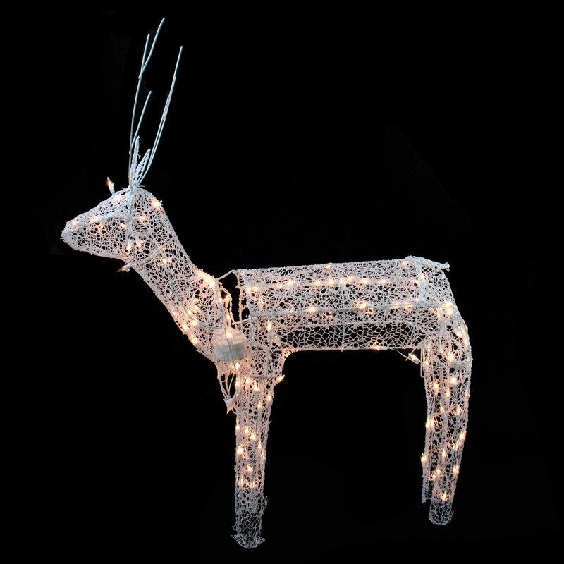 Northlight 3 D Glitter Animated Standing Buck Reindeer Lighted