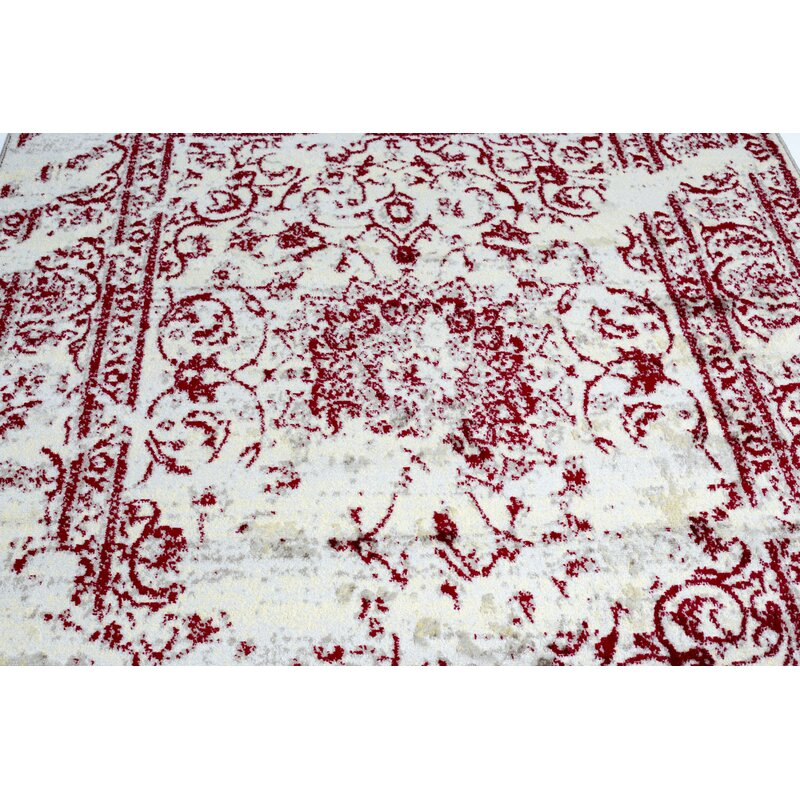Pearlman Hand Tufted Red White Area Rug
