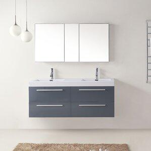 54 vanity double sink. Cartagena 54  Double Bathroom Vanity Set with White Top 51 55 Vanities You ll Love Wayfair