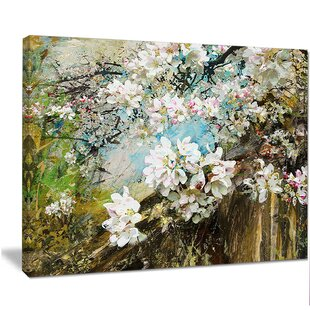 White flower painting wayfair apple blossoms with white flowers painting print on wrapped canvas mightylinksfo