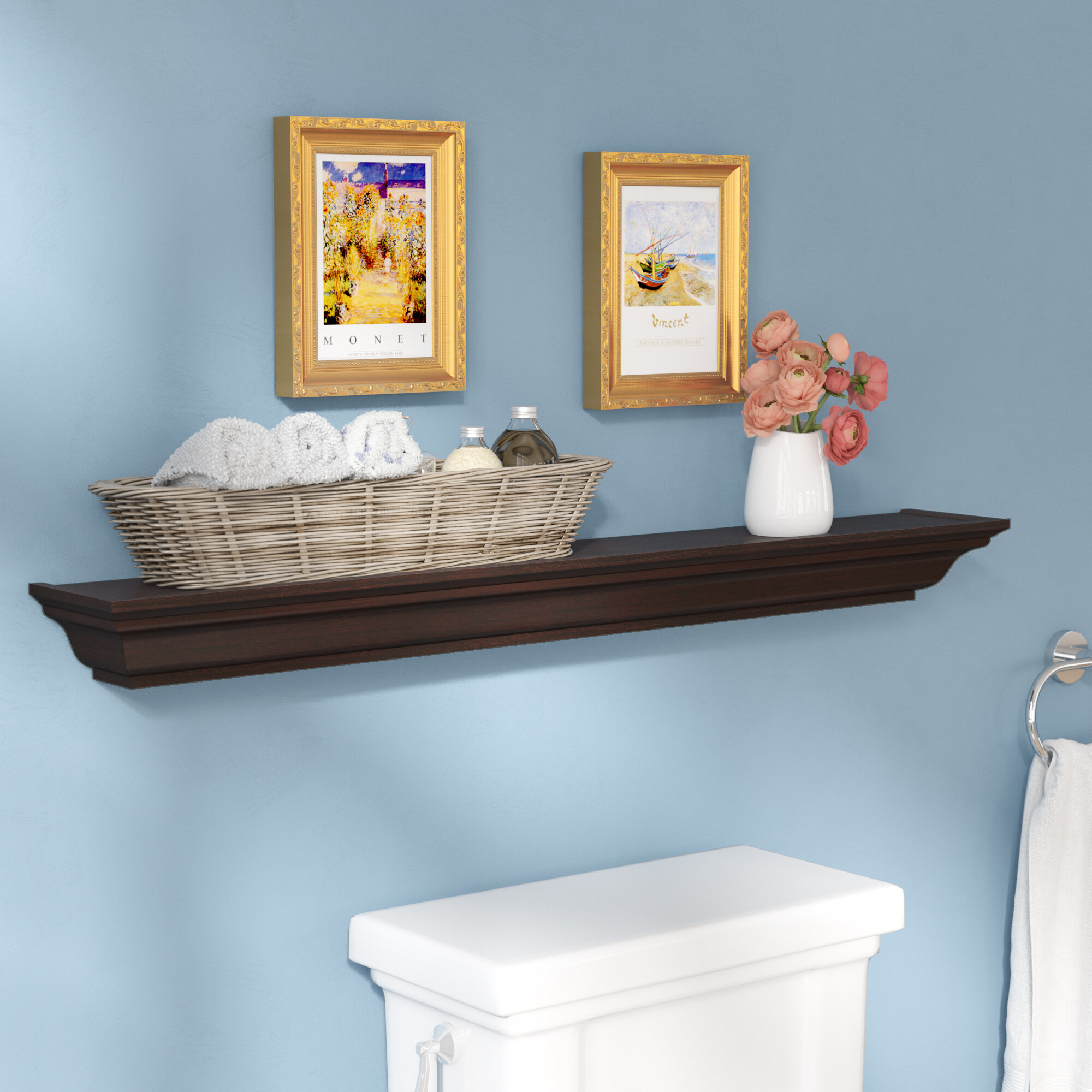 Three Posts Lavalley Traditional Crown Molding Floating Shelf ...