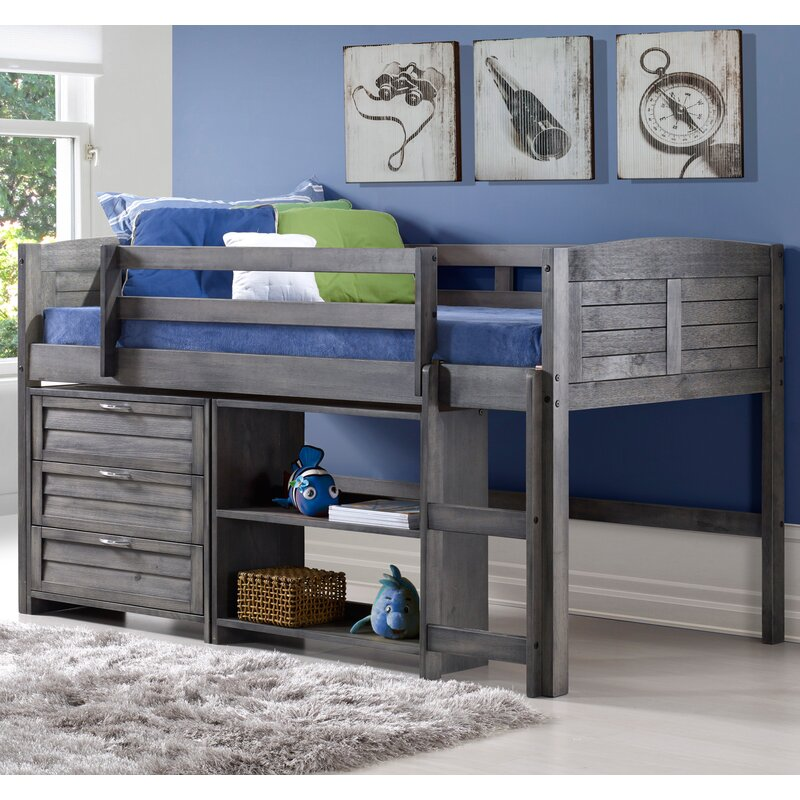 Bon Evan Twin Low Loft Bed With Storage