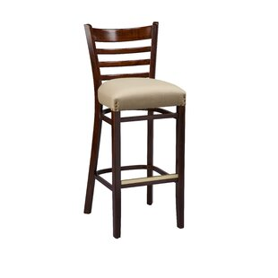 Beechwood Ladder Back Fully Upholstered Seat Bar Stool