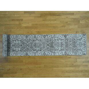 Best Choices One-of-a-Kind Beare Undyed Hand-Knotted Runner 2'8 x 18' Wool Gray/White Area Rug By Isabelline
