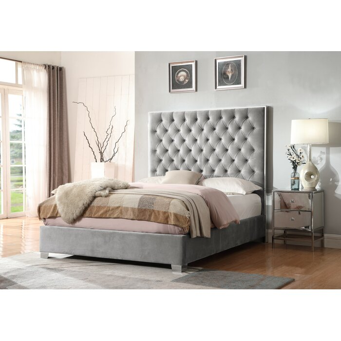 Emerald Home Lacey Silver Grey Upholstered Bed With Velvet Like Fabric,  Chrome Trim, And