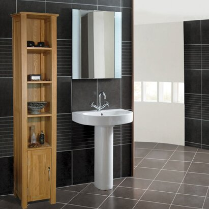 baumhaus mobel oak 365 x 180cm free standing tall bathroom cabinet u0026 reviews wayfaircouk