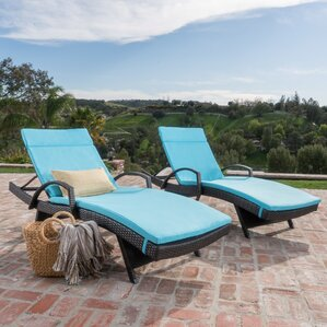 Lenahan Traditional Metal Frame Chaise Lounge With Cushion (Set Of 2)