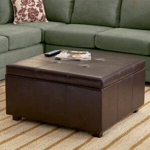 ehlert storage leather ottoman - Brown Leather Ottoman