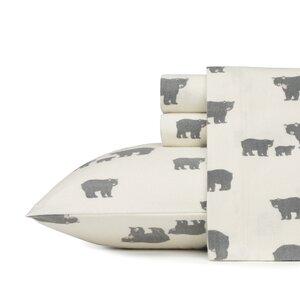 Bear Family 100% Cotton Flannel Sheet Set