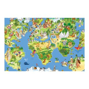 World map wallpaper kids wayfair great and funny world map 32m x 480cm childrens wallpaper roll gumiabroncs Image collections