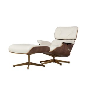 Corrigan Studio Martha Leather Lounge Chair and Ottoman