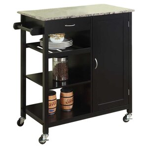 Red Barrel Studio Auden Kitchen Cart with Faux Marble Top