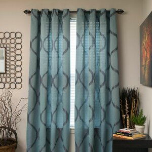 Shimmering Metallic Abstract Semi-Sheer Grommet Curtain Panel (Set of 2)