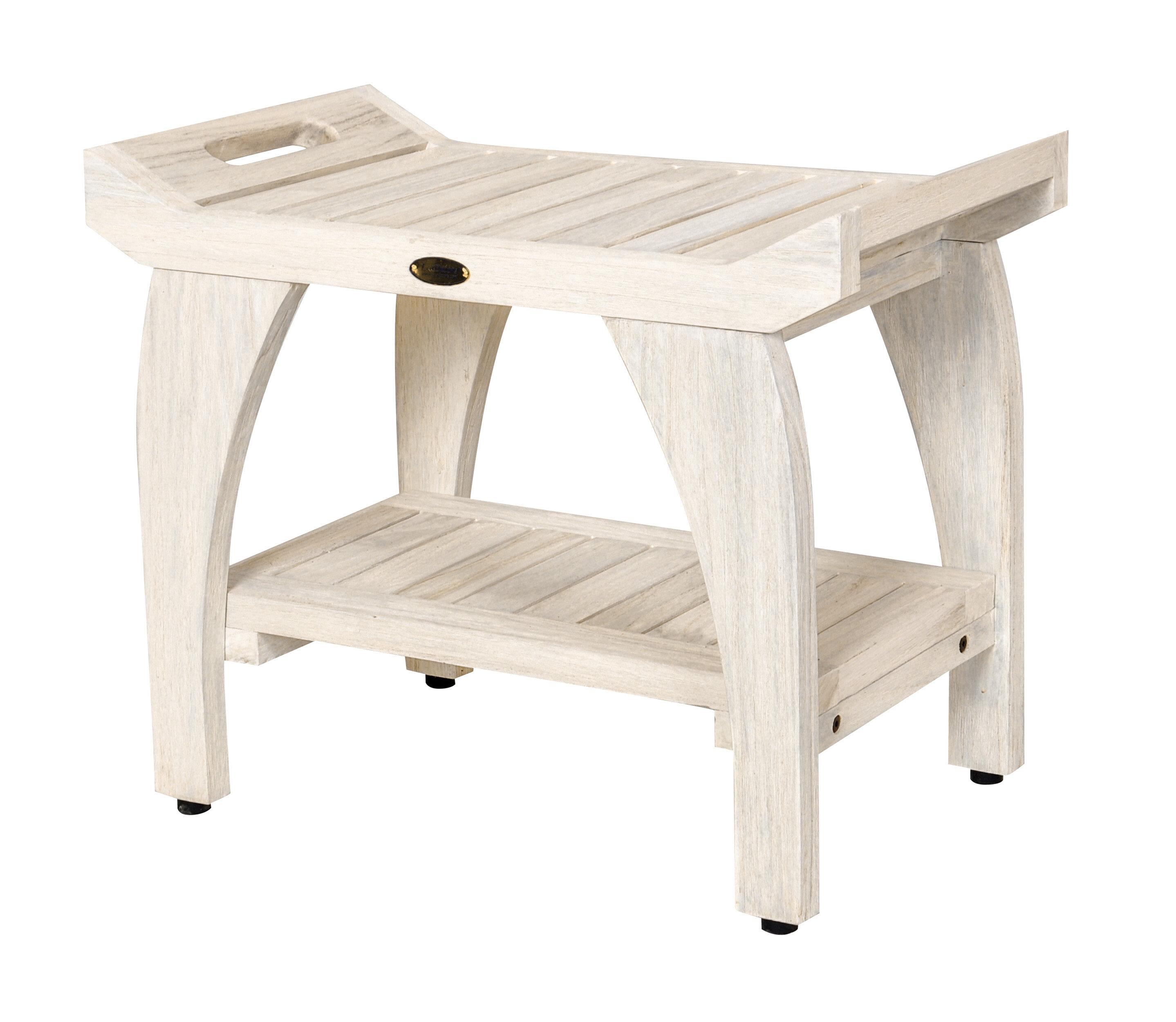Ecodecors Tranquility Coastal Vogue 24 Teak Shower Bench With Shelf Reviews Wayfair