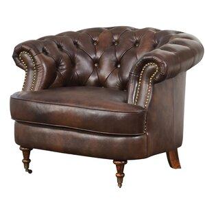 Mccarville Tufted Top Grain Leather Chesterfield Chair by Three Posts
