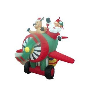 Christmas Inflatable Santa on Plane Decoration